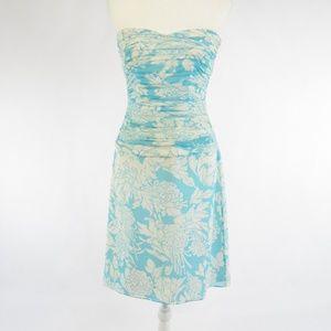 Kay Unger blue silk sheath dress 6